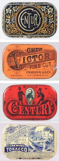 Tobacco Tins. What historical influences do you find here—try the Industrial Revolution or Arts and Crafts.—Prof. Zeller