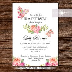 Baptism Invitation Baptism Girl Butterfly Invite by JadorePaperie