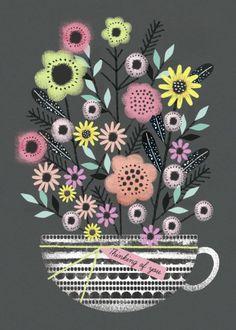 Jenny Wren - Flowers Teacup Grey