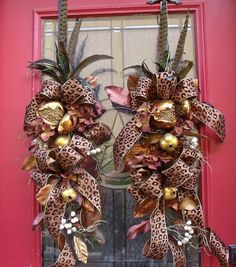 Fall Swags with Animal Print ribbon and feathers