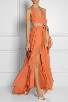 Coral stretch-silk chiffon Slips on 92% silk, 8% elastane; trim: 100% silk; belt: 100% viscose; lining: 92% silk, 8% elastane  Designer color: Melon