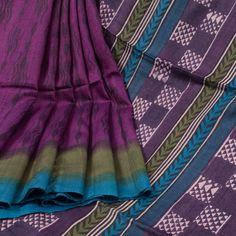 Sujata Purple Ombre Printed Tussar Silk Saree 10008025 - profile - AVISHYA.COM