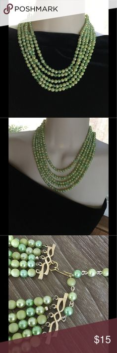 "Vintage Green Beads/Crystals, 5 Strand Necklace Vintage Green Necklace  Sophisticated Jewelry...Causal...or Party Perfect 💖  Length: 15"" Closure: Hook Extender: 3""  Please Contact Me With Any Questions        As Always ~~~~Be Your Beautiful Self~~~ 💋 Jewelry Necklaces"