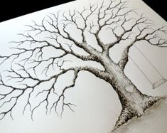 MEDIUM OAK Thumbprint Guest Book Tree with Swing and Heart - 20x16  Customized  Giclée Print of my Original Painting.  Up to 125 guests