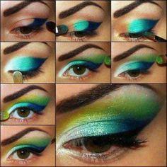 Tutorial Colorful makeup.
