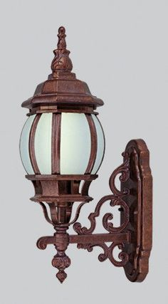 """Livex 9020-18 Cast Aluminum Outdoor Wall Lantern Weathered Brick Frosted Beveled Glass Energy Saving Fluorescent 1-light w/ Free CFL Bulb 26w 6.5"""" W X 21"""" H X 10"""" E by Livex Lighting. Save 54 Off!. $62.28"""