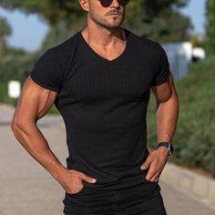 Muscular Men, Tshirts Online, Sleeve Styles, V Neck, Running, Sleeves, Mens Tops, T Shirt, Shopping