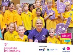 Purple Join In foam fingers were seen everywhere at Stalybridge swimming pool in Stockport as Rebecca Adlington posed with young volunteers for Join In Summer Olympians, Volunteers, Fingers, Swimming Pools, Join, Poses, Club, Purple, Summer