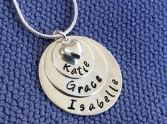 Gift for Mum of three with puff heart. All sterling silver materials. Washer Necklace, Pendant Necklace, Gifts For Mum, Hand Stamped, Personalized Gifts, Sterling Silver, Chain, Heart, Jewelry