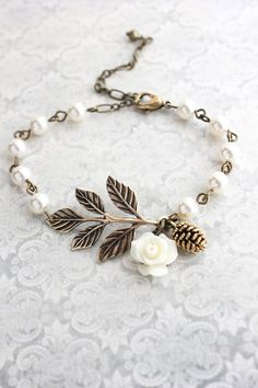 Rustic Branch Bracelet Pinecone Rose Charm by apocketofposies