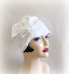 White Turban Cloche, Flapper Style Hat, Trendy Hat, Chemo Hat, Flower Accessory, The Evie, Gatsby Style Hat, 1920's Cloche, Bridal Chemo Hat, Free Shipping, Handmade in the USA