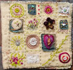 Freckles and Flowers blog. Paula Watkins. Hand stitched book. Folk Art. On vintage blanket.