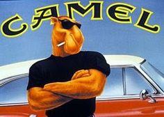 la marca de tabaco camel  ha jugado con su significado en ingles que es camello y ha representado un camello como si fuera un hombre