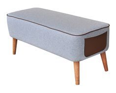 meble - pufy, stołki, ławy-Ławka Mr. M szara/brąz z kieszenią