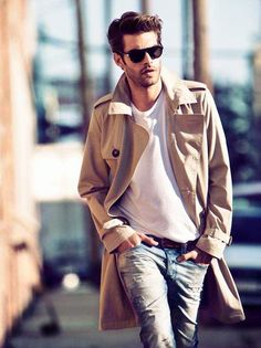 beige trench, simple white shirt, scuffed denim w/hair and shades to finish off the look