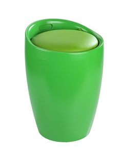 Der trendige Badhocker und Wäschesammler Candy ist aus stabilem ABS-Kunststoff gefertigt. Mit seinem farbenfrohen Grün wird das moderne Accessoire zum Hingucker in jedem Bad.