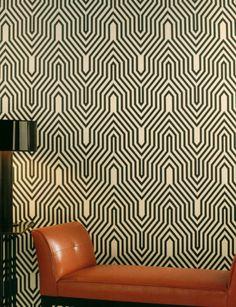 Minaret wallpaper, caramel leather lounge and slender black top floor lamp - easy modern.  (re-pinned photo from Osbourne & Little)