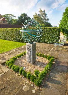 Bronze Armillary Sphere Half Hidden By A Cloud Of Lavender Contemporary  Gardens, Contemporary Decor,