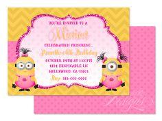 Minions - Digital Birthday Party Invitation / Child Party Ideas / Children Party Themes / Children Invites / Children Invitations / Kid Party Ideas / Kid Invitations / Girls / Pink / Glitter