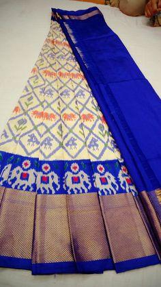 Ikkat pure silk jaquard border lehanga with blouse