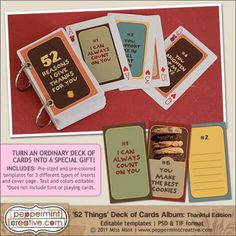 free downloadable templates for the 52 Things I love about You cards ...