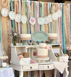Ribbon Backdrop and Vintage Table for party - display Ribbon Backdrop, Fabric Backdrop, Ribbon Wall, Ribbon Curtain, Streamer Backdrop, Fabric Garland, Burlap Fabric, Fabric Ribbon, Vintage Dessert Tables