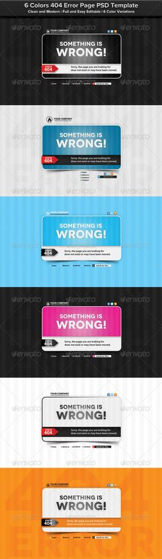 6 Colors 404 Error Page PSD Template  #GraphicRiver