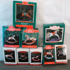 "HALLMARK ORNAMENT SERIES ""ROCKING HORSE"" LOT OF 9 DIFFERENT , IN ORIG BOXES"