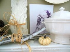 Fall mantel decor using neutrals. Vintage ironstone, Native Chief and natural elements.
