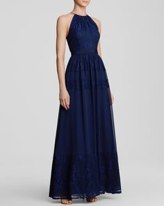 Aidan Mattox Gown High Neck Lace & Chiffon Skirt - Bloomingdale's Exclusive