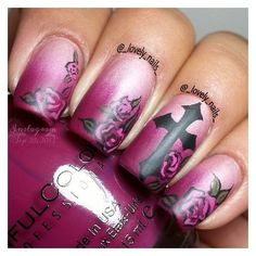 Looking for new nail art ideas for your short nails recently? These are awesome designs you can realistically accomplish–or at least ideas you can modify for your own nails! Get Nails, Fancy Nails, Love Nails, How To Do Nails, Pretty Nails, Hair And Nails, Pink Nails, Cross Nails, Cross Nail Art