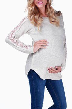 4d439078359 Beige Crochet Sleeve Maternity Sweater. Cute Maternity OutfitsMaternity  NursingMaternity ...
