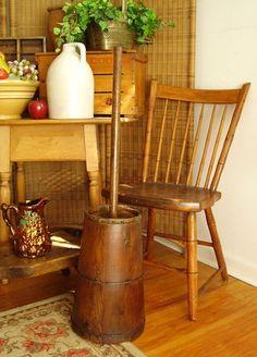 Antique American BUTTER CHURN Oak Staves Iron Hoops - Wooden- Pennsylvania c1880