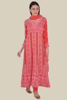 Coral Red Chikankari With Kamdaani Anarkali Pure Georgette Suit