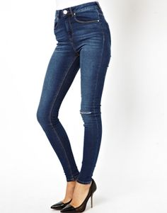 Enlarge ASOS Ridley High Waist Ultra Skinny Jeans in Faded Authentic with Ripped Knee.