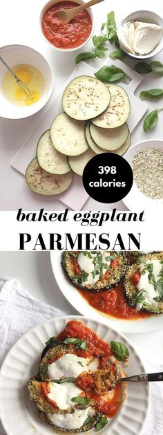 Healthy and easy baked eggplant parmesan recipe that's just as good as the fried version! Here are the secrets to making it crispy and cheesy, while keeping it healthy and light -- 398 calories!