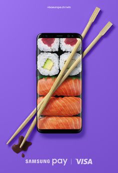 Visual design of this ad communicates what you might use the product to purchase (sushi, in this case), without any words.