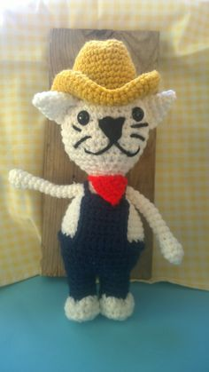 amigurumi farmer cat in hat and bandanna by MNPrairieCrafts, $20.00