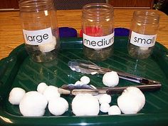 Use concept for #Snowballs activity. Instead of sorting by size, have child add a designated number of snowballs (cottonballs) in clear container. Perhaps use two containers and have child determine which jar has MORE or LESS snowballs.