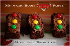 Stoplight brownies: easy and perfect for a Disney Cars Birthday Party!