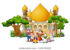 Happy Muslim Kids Cartoon in front of a mosque Background Banner, Vector Background, Mosque Silhouette, Islamic Cartoon, Islam For Kids, Celebration Background, Muslim Family, Hijab Cartoon, Islamic Paintings