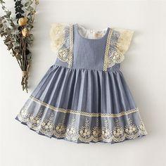 Girls Lace Trim Dress - baby girl dress 3 / 12-18M 80