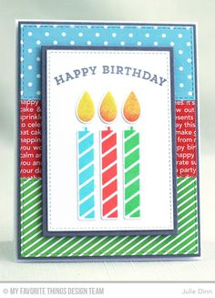 Handmade card from Julie Dinn featuring Birthday Blowout 6x6 Paper Pack #mftstamps