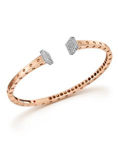 Roberto Coin 18K White and Rose Gold Pois Moi Chiodo Bangle with Diamonds - 100% Bloomingdale's Exclusive
