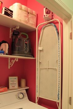 fold down ironing board over the washer/dryer