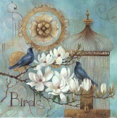 Blue Birds and Magnolia Fine-Art Print by Elaine Vollherbst-Lane at UrbanLoftArt.com