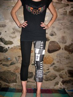 MOVING SALE Eco-Friendly Blk and White Scrap Patchwork Punk Pants/Leggings Small/Medium By Vicmes Clothing