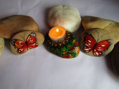 Tea light, Stone candle holder, Set of 3 painted stones, Red Butterflies, pebble art, home decoration, Mandala stone, Zen decor, paperweight