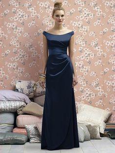 20 Amazing Navy Blue Bridesmaid Dress Ideas: #6. Elegant satin maxi draped dress