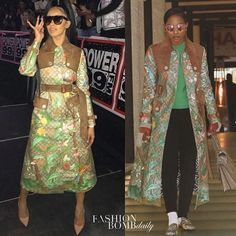 It's a style showdown! Both @iamcardib and @dejloaf were spied in @gucci's $5,590 Tian print GG supreme coat. Who wore it better?  #CardiB #DejLoaf #instastyle #instafashion #fashion #style #celebritystyle #fashionbombdaily #gucci